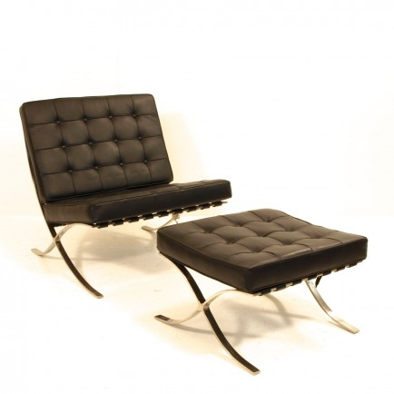 barcelona chair replica mit ottoman m bel z rich. Black Bedroom Furniture Sets. Home Design Ideas