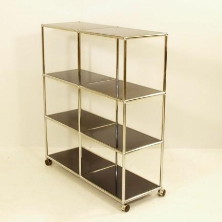 usm regal auf rollen mit gelochten platten m bel z rich vintagem bel. Black Bedroom Furniture Sets. Home Design Ideas