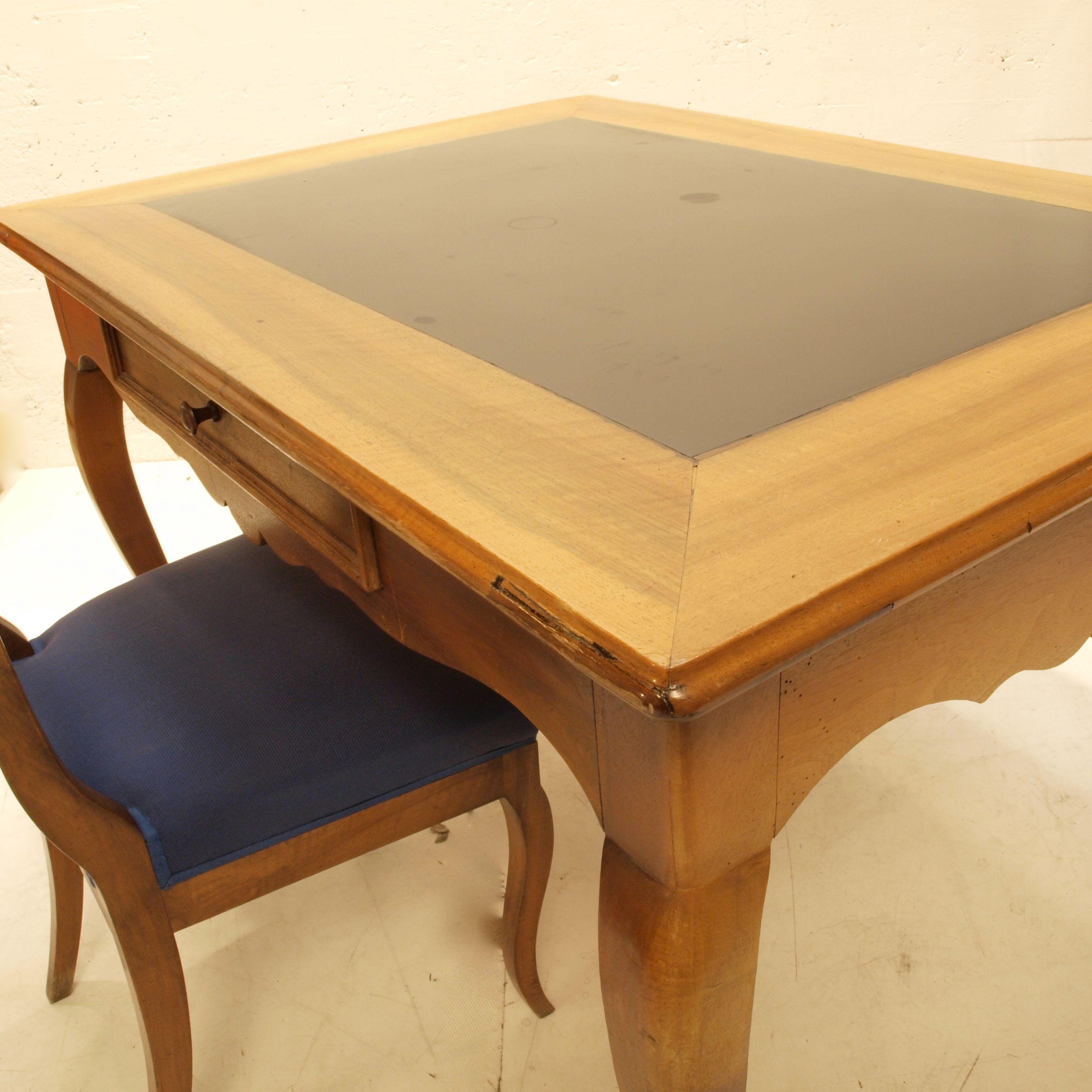 Schiefertisch Schweiz ~ Nussbaumtisch mit Schieferplatte und Auszug  Möbel Zürich  Vintagemöbel
