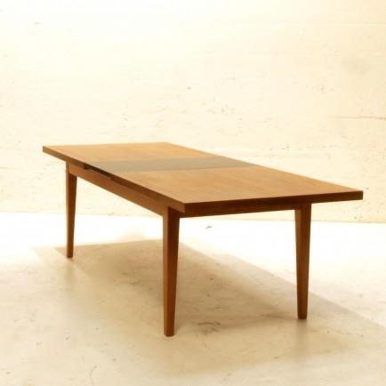 teak loungetisch mit schwarzer einlage ausziehbar m bel z rich vintagem bel. Black Bedroom Furniture Sets. Home Design Ideas
