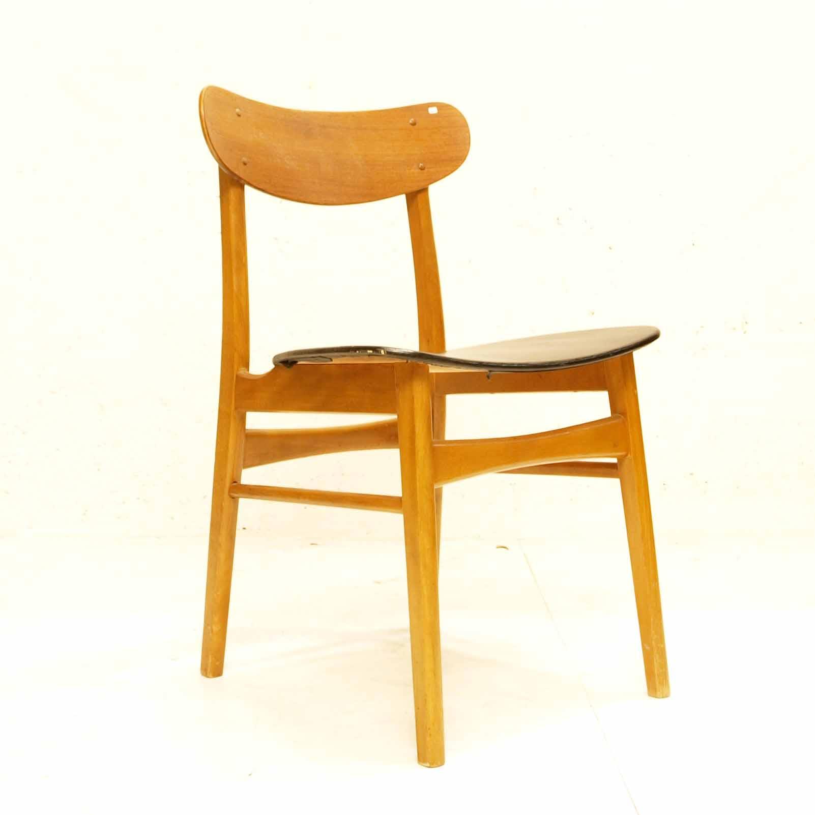 teak stuhl mit kunstleder schwarz danish design m bel. Black Bedroom Furniture Sets. Home Design Ideas