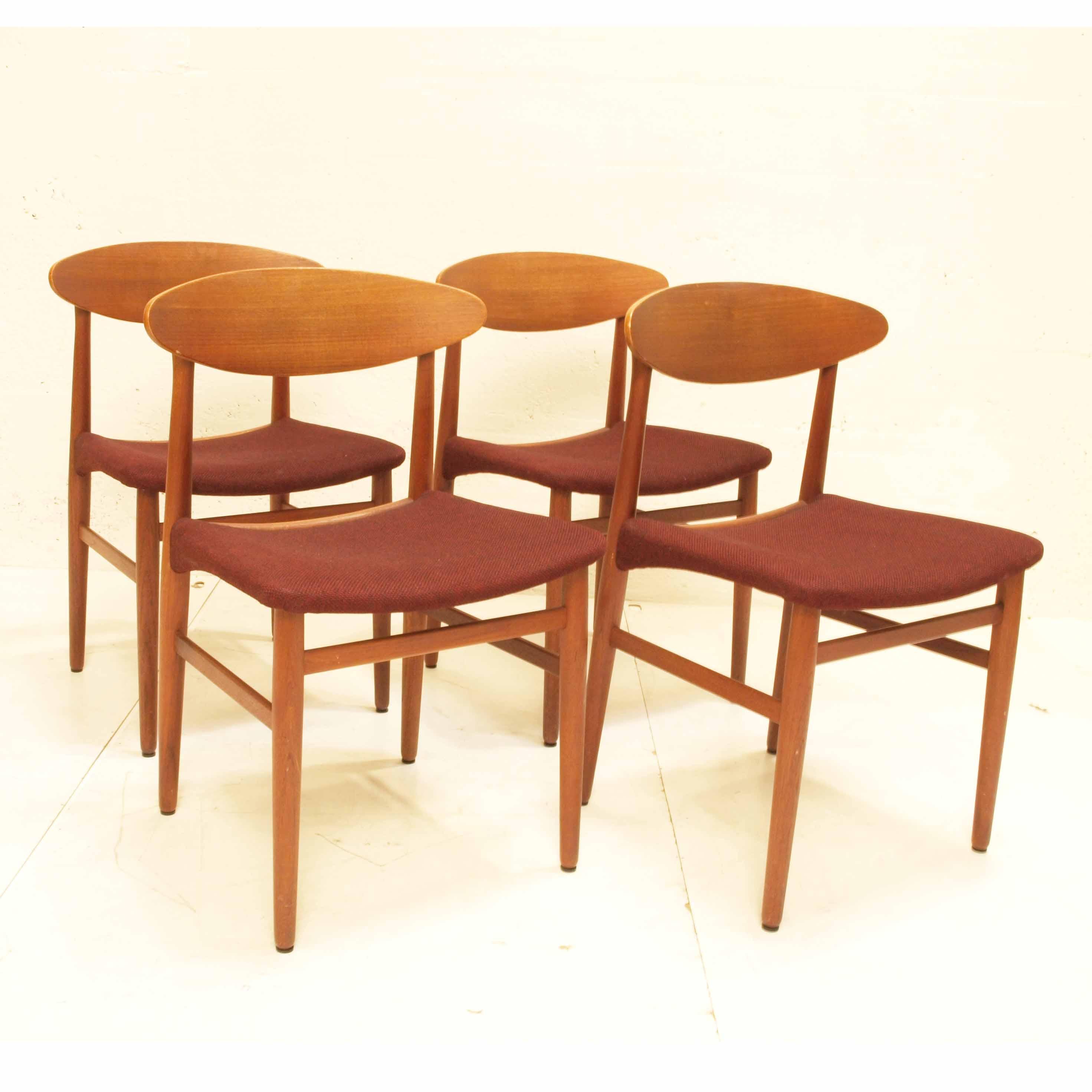 4er set d nische st hle aus teak m bel z rich vintagem bel. Black Bedroom Furniture Sets. Home Design Ideas
