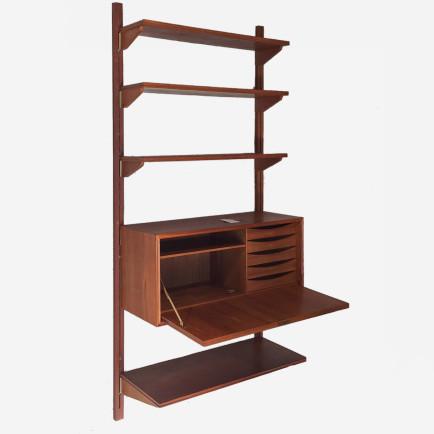 teak wandregal mit sekret r m bel z rich vintagem bel. Black Bedroom Furniture Sets. Home Design Ideas