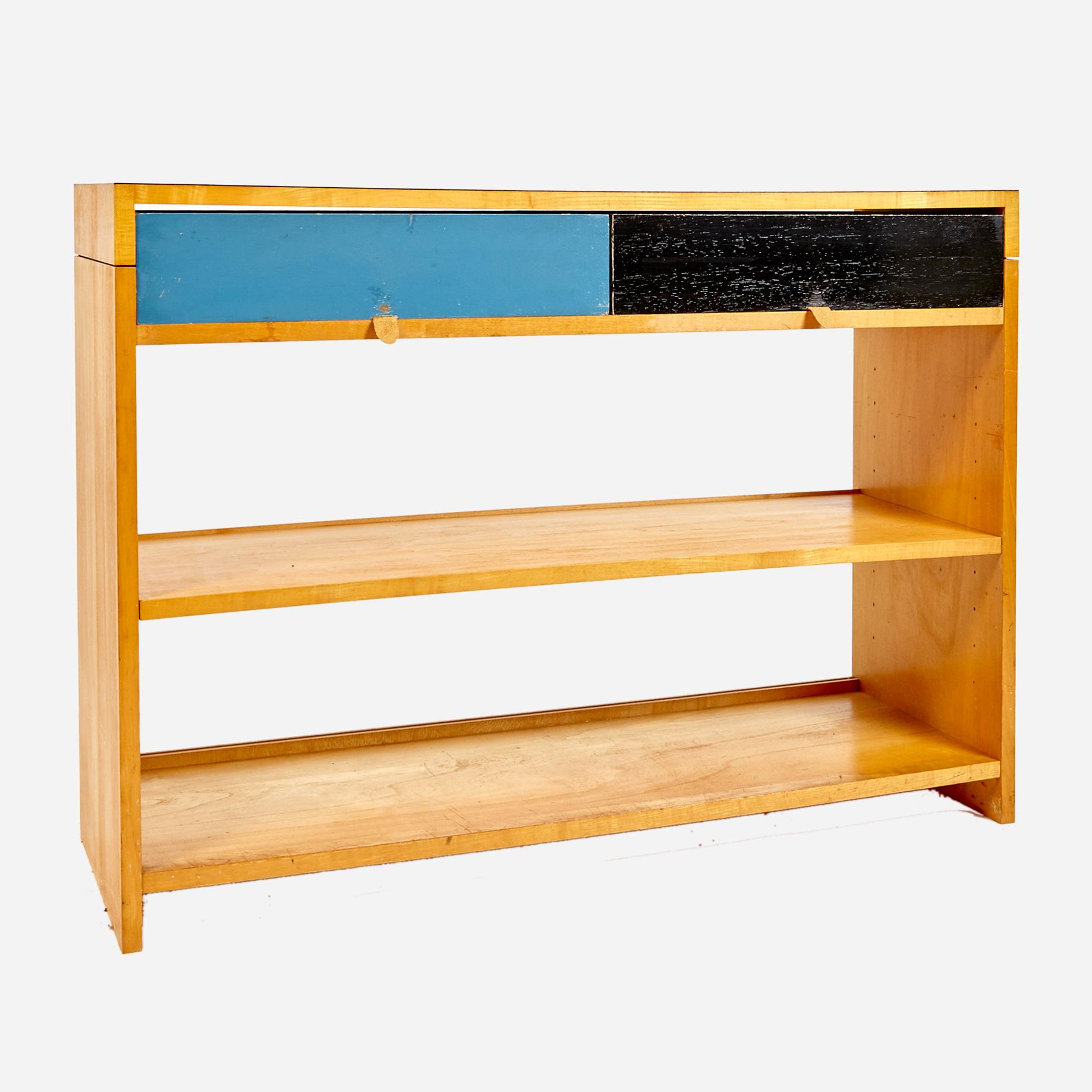 regal mit zwei schubladen von emil guhl m bel z rich vintagem bel. Black Bedroom Furniture Sets. Home Design Ideas