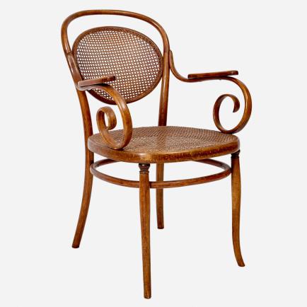 armlehnstuhl mit jonc geflecht von thonet m bel z rich vintagem bel. Black Bedroom Furniture Sets. Home Design Ideas