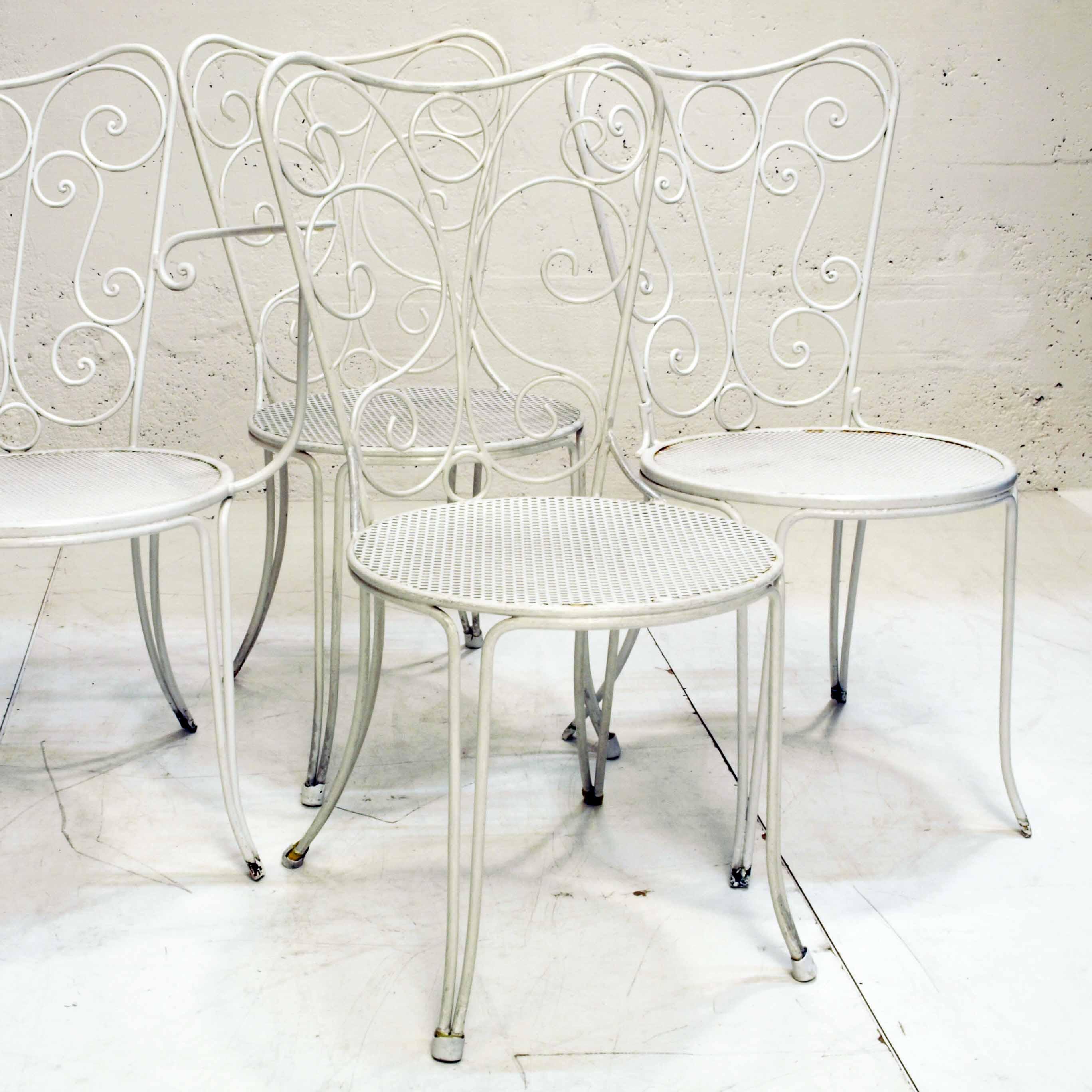 4er Set Gartenstühle, Metall, Weiss, Jugendstil, Ohne Armlehne