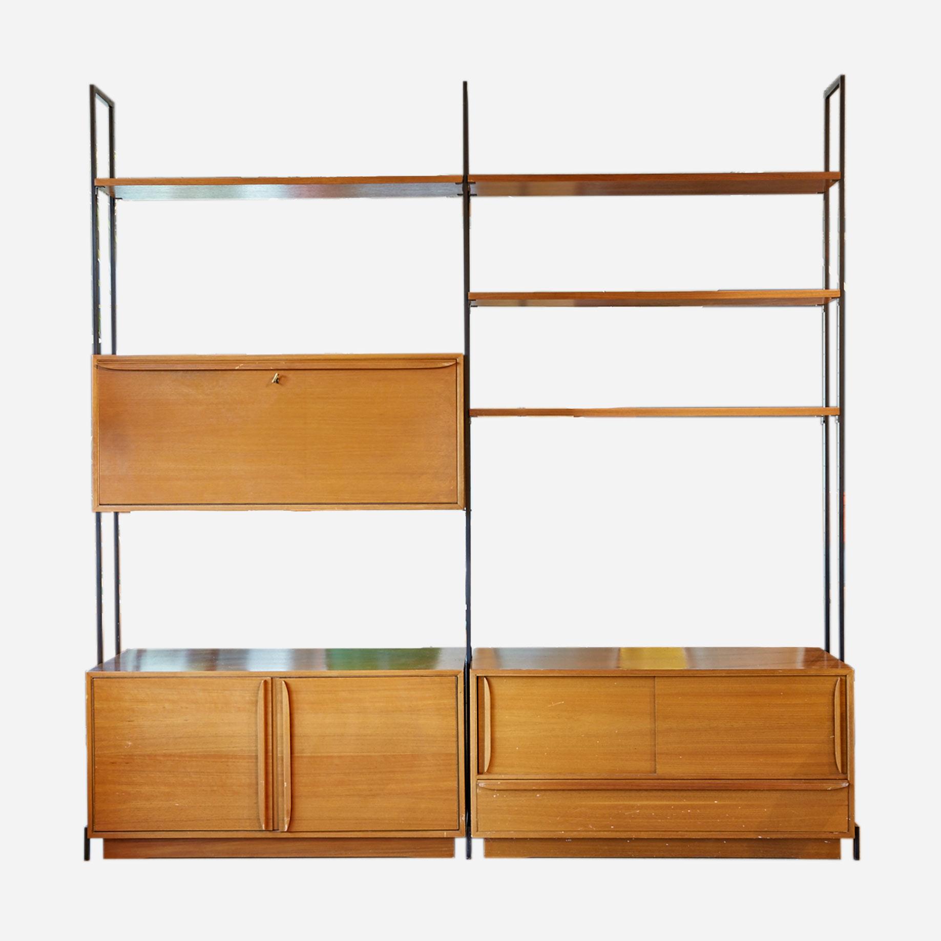 b cherregal in teak freistehend m bel z rich vintagem bel. Black Bedroom Furniture Sets. Home Design Ideas