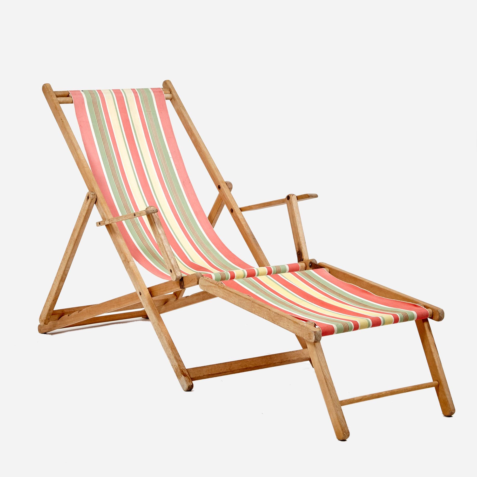 Liegestuhl mit Fussteil und Originalstoffbespannung | Möbel ...