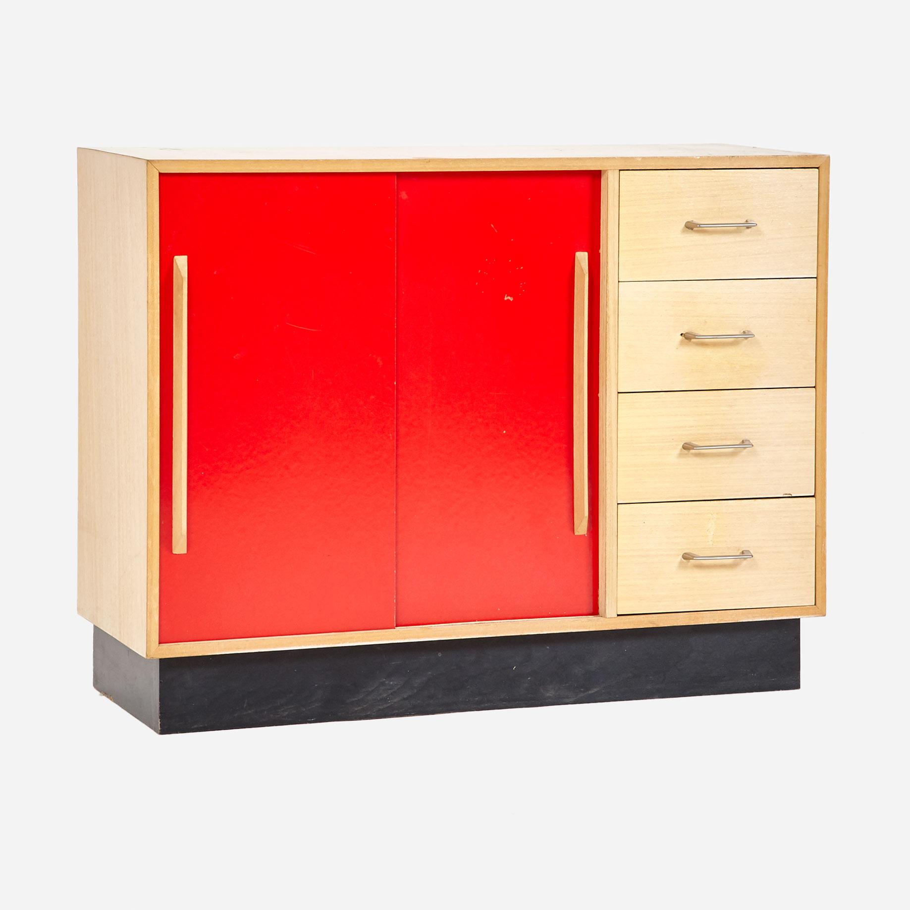 schiebeschrank mit schubladen m bel z rich vintagem bel. Black Bedroom Furniture Sets. Home Design Ideas