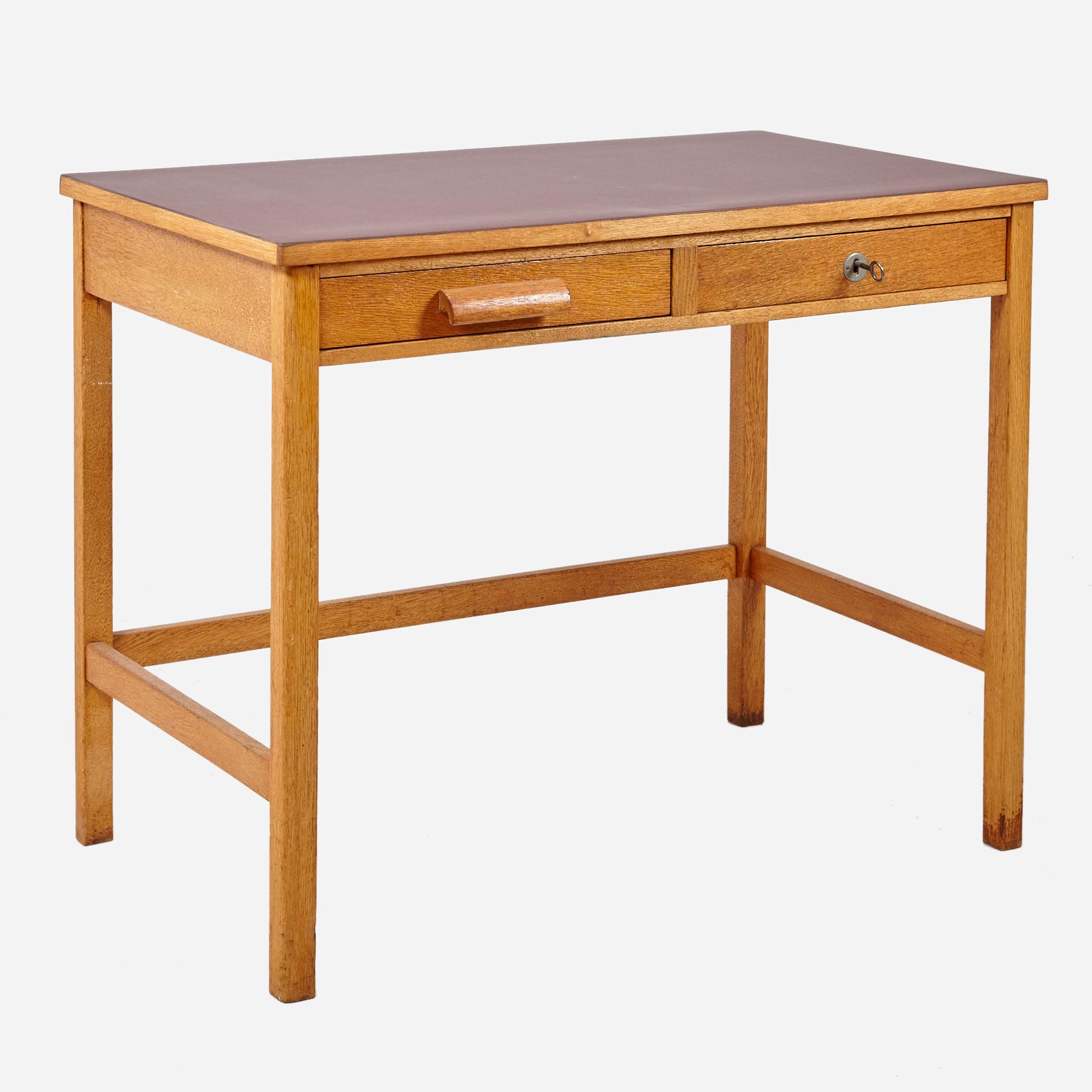 arbeitstischli aus eichenholz mit linoleum 1960er jahre m bel z rich vintagem bel. Black Bedroom Furniture Sets. Home Design Ideas