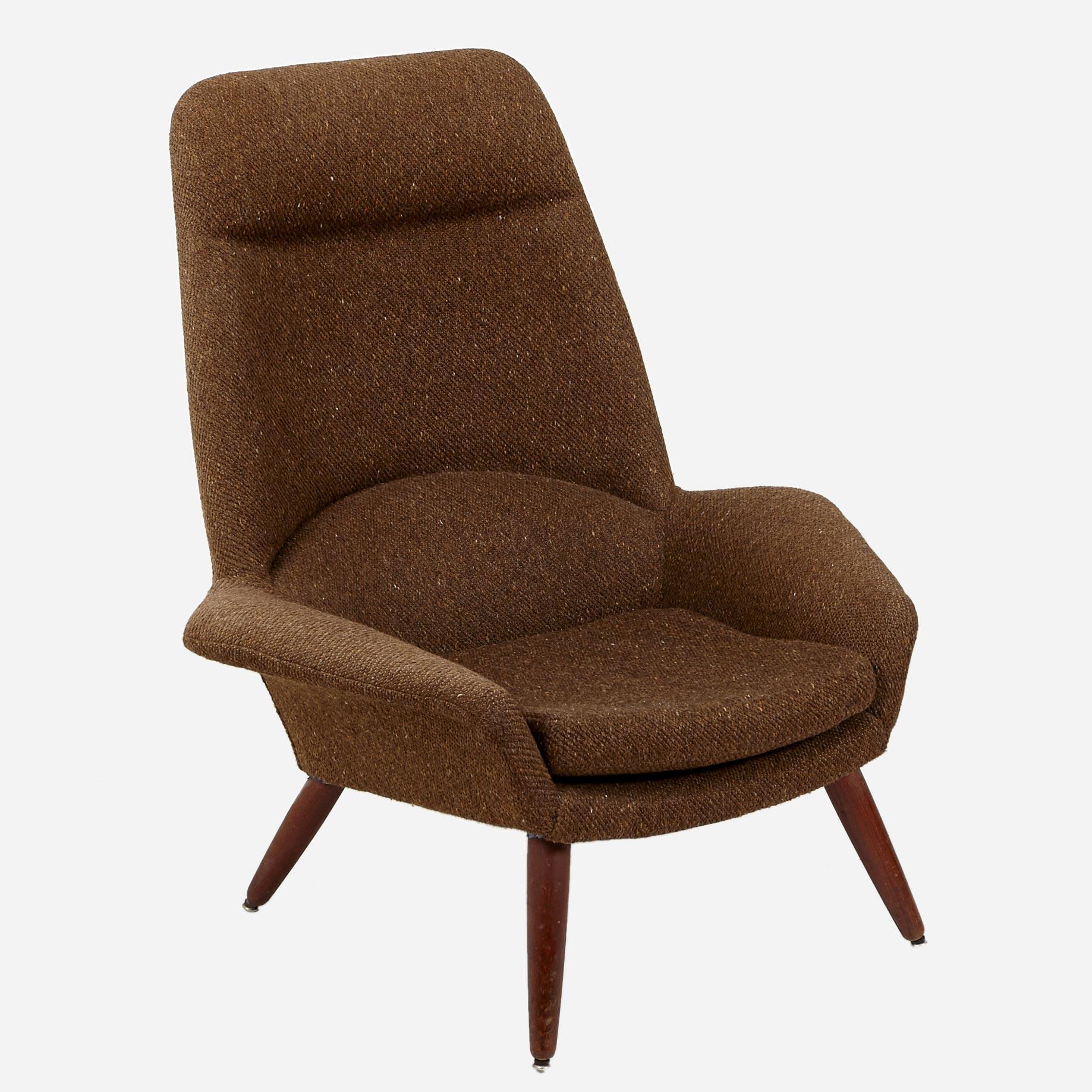 sessel mit braunem wollstoffbezug m bel z rich vintagem bel. Black Bedroom Furniture Sets. Home Design Ideas