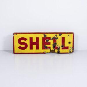 Shell Metall Reklametafel, beleuchtet Lampen