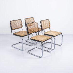 4er-Set Marcel Breuer Freischwinger für Thonet, schwarz Stuhl