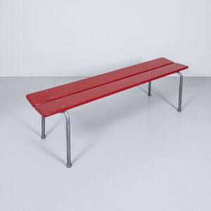 Holzbank aus Buche, rot lackiert Bank