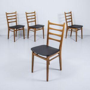 60er Jahre Teak Stühle, neu bezogen (4er Set) Polsterstuhl