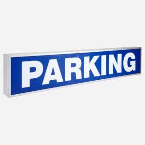 Leuchtschrift Parking Lampen