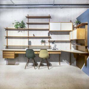 50er Jahre Wandregal mit Schreibtisch Möbel