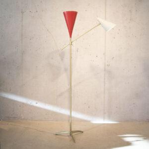 50er Jahre Stehlampe rot-weiss Lampen