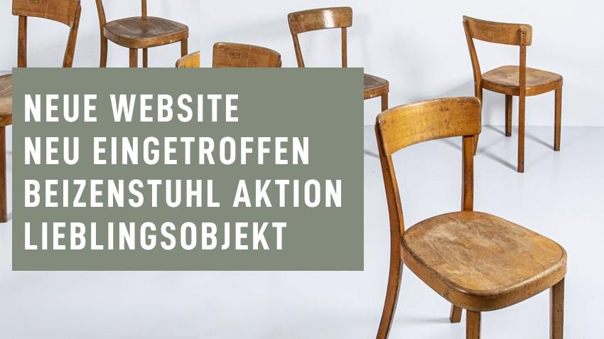 Neue Website – Neu eingetroffen – Beizenstuhl Aktion – Lieblingsobjekt
