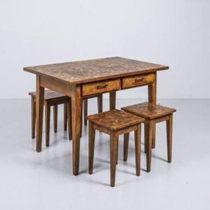 Eichen Holztisch mit zwei Schubladen Esstisch
